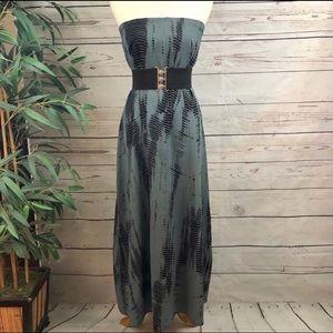 Anthropologie Dresses - Elan Tie Dye Boho Maxi Dress Slate Grey Black